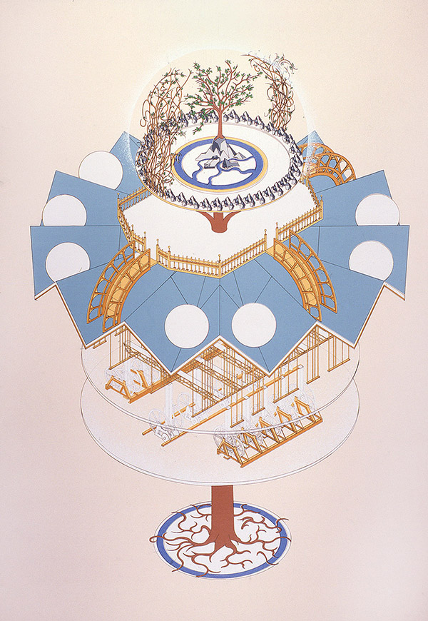 'Fantasy sculpture III with apples tree', 1991, 100 x 70 cm, 14 col. Cat. n.3