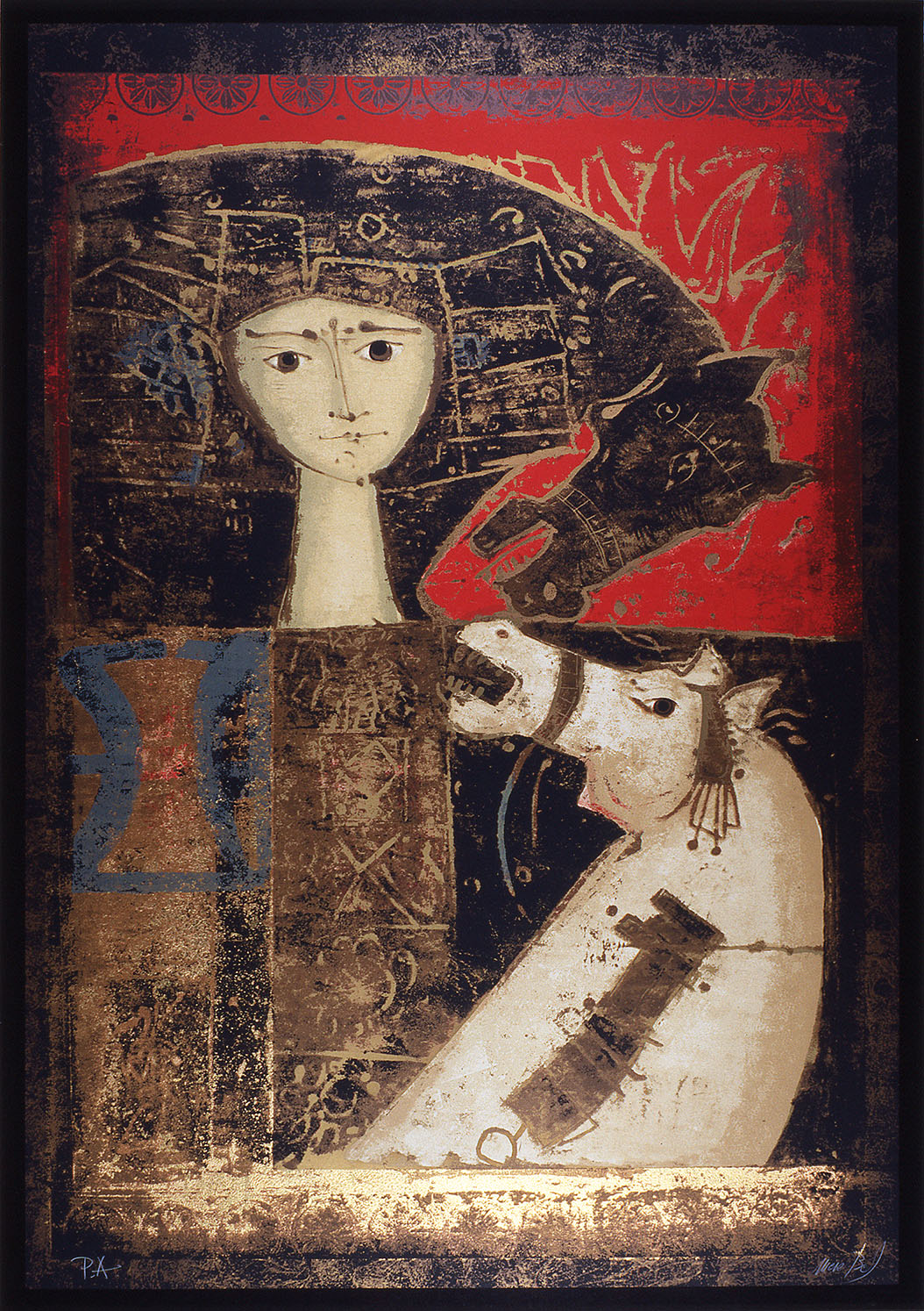 'Due cavalli', 1979, 100 x 70 cm, 19 col. Cat. n.23