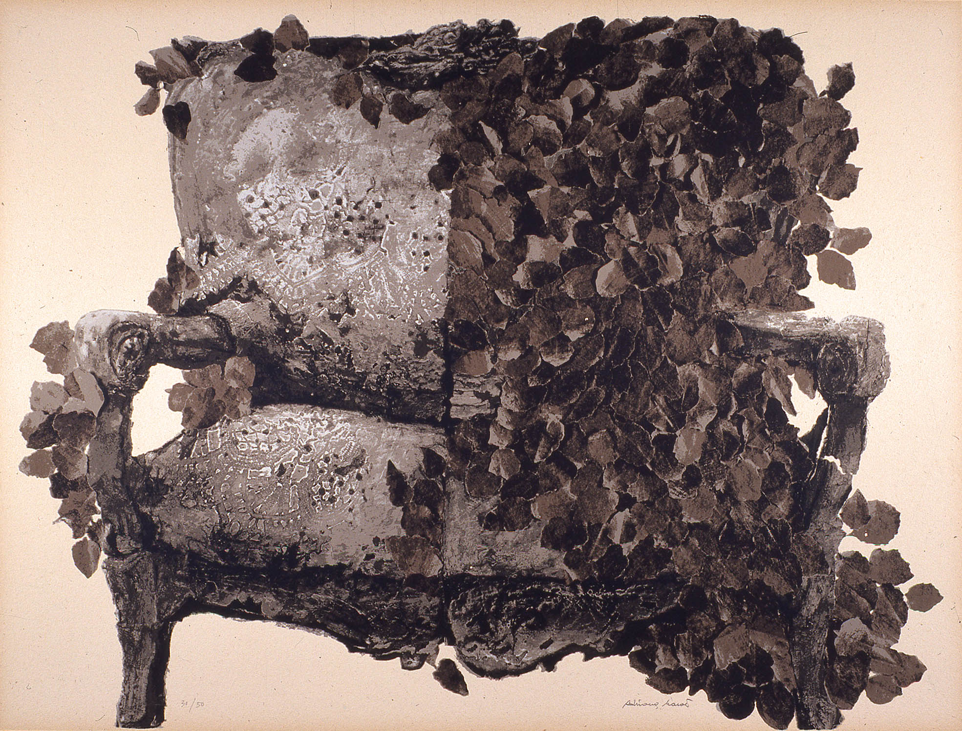 'Divano Marrone Leaves' 1980, 60 x 80 cm, 11 col. Cat. n.461